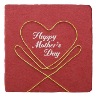 Happy Mother's Day String Heart Red Trivet