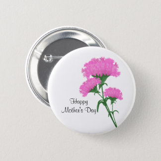 """""""Happy Mother's Day"""" Three Pink Carnations 2 Inch Round Button"""