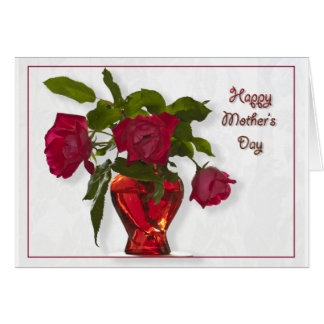 Happy Mother's Day - Three Red Roses Note Card