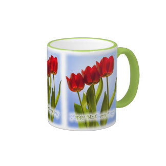 Happy Mother's Day - Three Red Tulips Ringer Coffee Mug