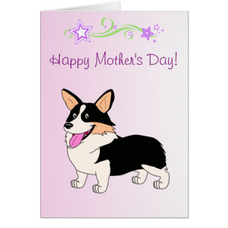 Happy Mother's Day Tricolor Corgi Card
