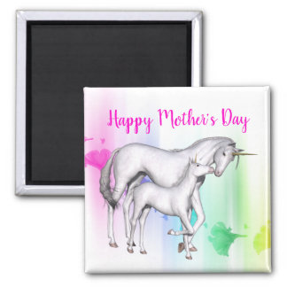Happy Mother's Day   Unicorn with her Baby Magnet