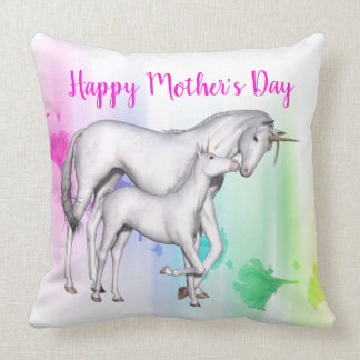 Happy Mother's Day | Unicorn with her Baby Throw Pillow