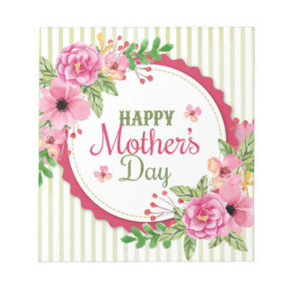 Happy mother's day vintage flower bouquet frame notepad