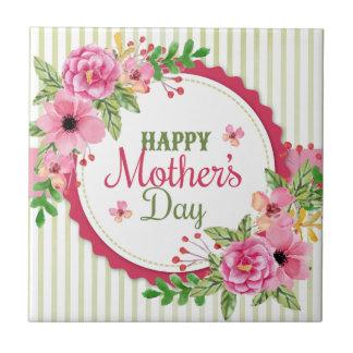 Happy mother's day vintage flower bouquet frame tile