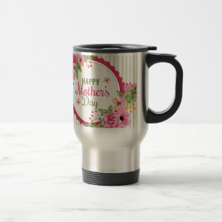 Happy mother's day vintage flower bouquet frame travel mug