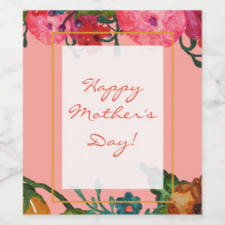 Happy Mother's Day | Watercolor Florals | Pretty Wine Label