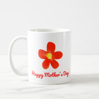 Happy Mother's Day Watercolor red flower Mug