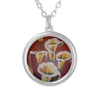 Happy Mother's Day - White Calla Lilies Silver Plated Necklace