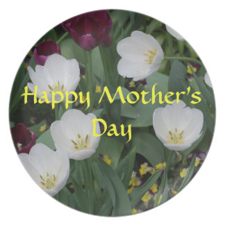 Happy Mother's Day White Flower Plate