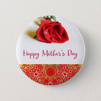 Happy Mother's Day with a Single Red Rose 2 Inch Round Button