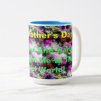 Happy Mother's Day with flowers Two-Tone Coffee Mug