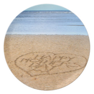 Happy Mother's Day with Love Heart in the Sand Dinner Plate