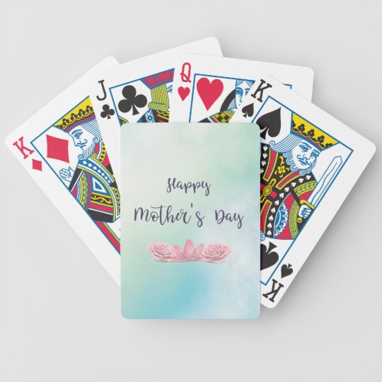 Happy-Mothers-Day-with-pink-Flowers Bicycle Playing Cards