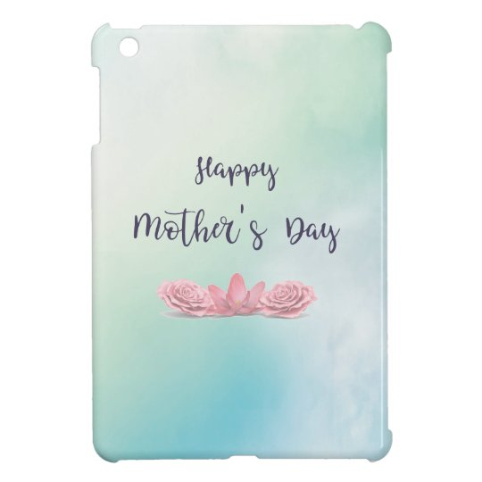 Happy-Mothers-Day-with-pink-Flowers iPad Mini Cover