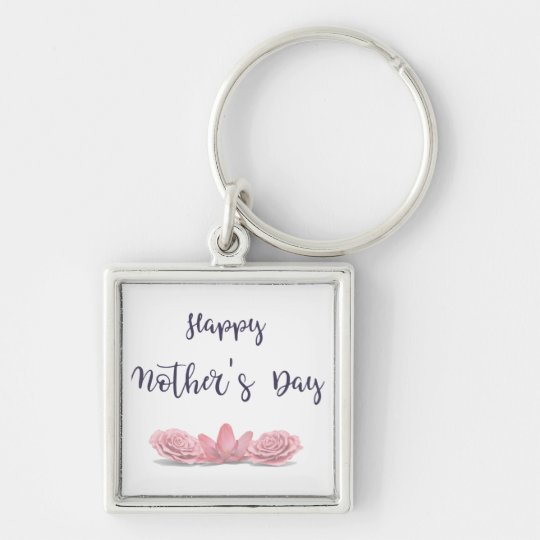 Happy-Mothers-Day-with-pink-Flowers Keychain