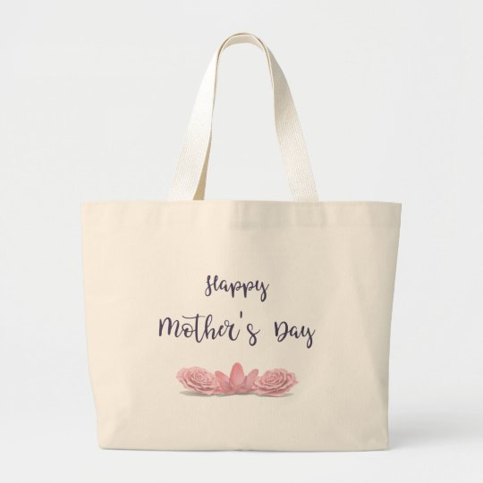 Happy-Mothers-Day-with-pink-Flowers Large Tote Bag