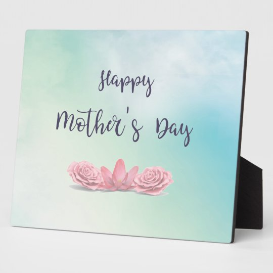 Happy-Mothers-Day-with-pink-Flowers Photo Plaques