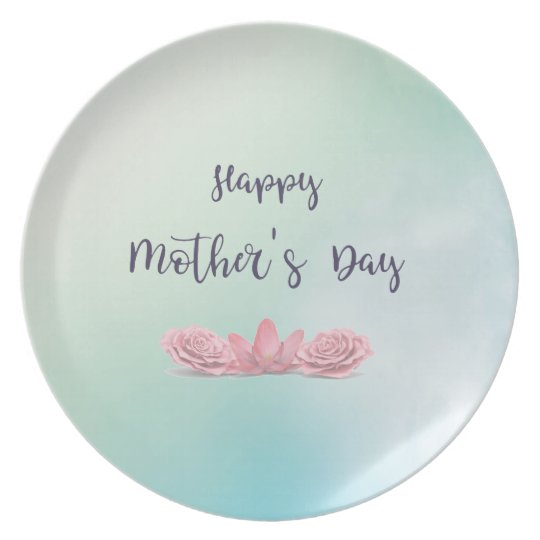 Happy-Mothers-Day-with-pink-Flowers Plate