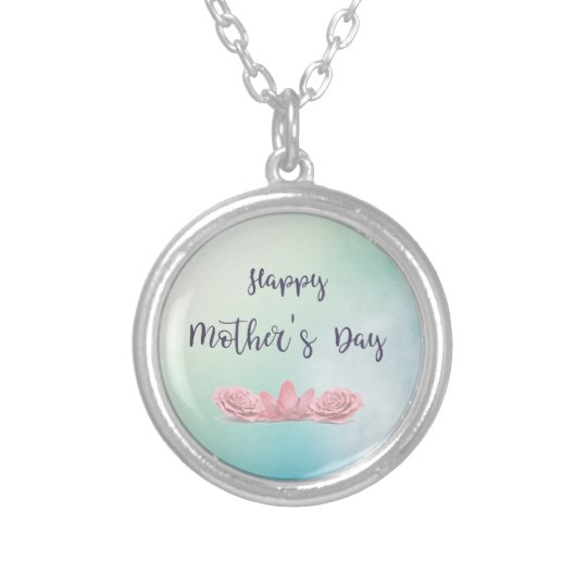 Happy-Mothers-Day-with-pink-Flowers Silver Plated Necklace