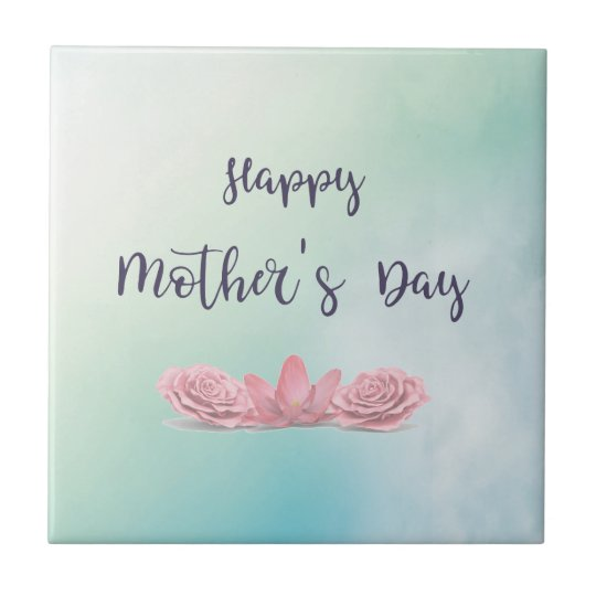 Happy-Mothers-Day-with-pink-Flowers Tile