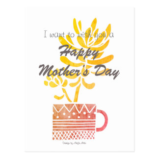 Happy Mother's Day yellow flower Postcard