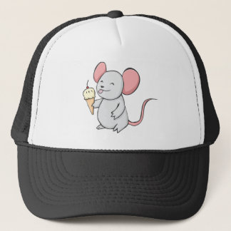 Happy Mouse Eating Ice Cream Trucker Hat