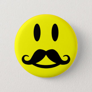Happy Mustache Smiley button