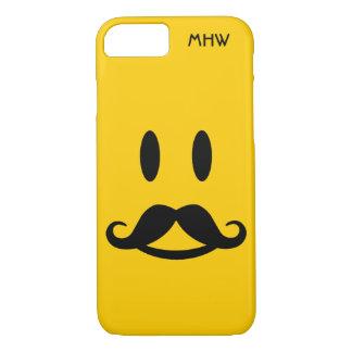 Happy Mustache Smiley custom monogram cases
