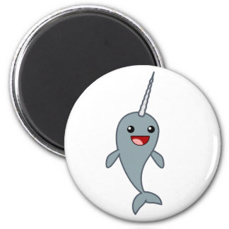 Happy Narwhal 2 Inch Round Magnet