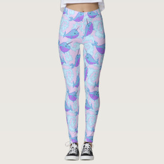 Happy Narwhal Pattern Leggings