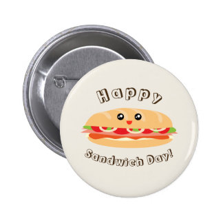 Happy National Sandwich Day Cute And Kawaii 2 Inch Round Button