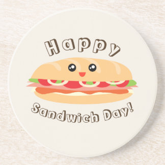 Happy National Sandwich Day Cute And Kawaii Coaster
