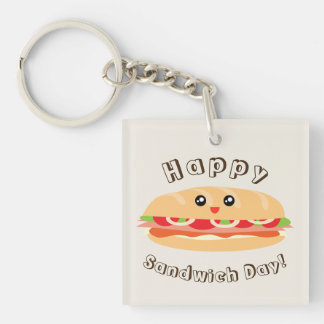 Happy National Sandwich Day Cute And Kawaii Double-Sided Square Acrylic Keychain