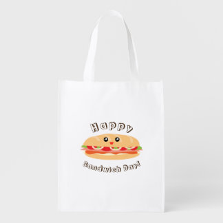 Happy National Sandwich Day Cute And Kawaii Reusable Grocery Bag