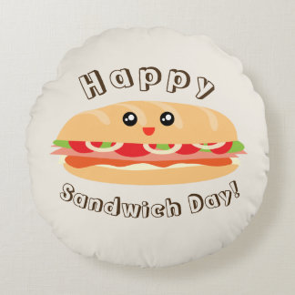 Happy National Sandwich Day Cute And Kawaii Round Pillow