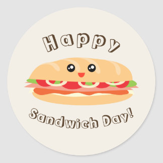 Happy National Sandwich Day Cute And Kawaii Round Sticker