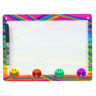 HAPPY NEON COLORS SMILEYS + STRIPE KEYHOLDER BOARD