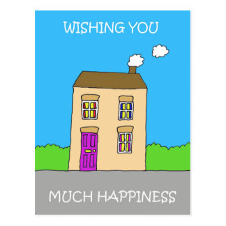 Happy New Home Funky House Postcard