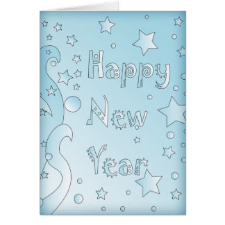 Happy New Year 2010 - Blue design with stars Card