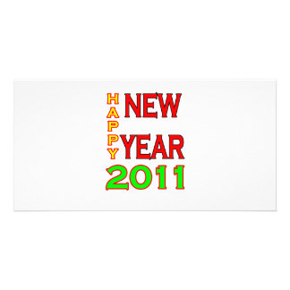 Happy New Year 2011 Green-Red Photo Card