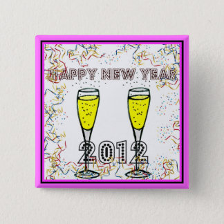 HAPPY NEW YEAR 2012 CHAMPAGNE TOAST PRINT 2 INCH SQUARE BUTTON