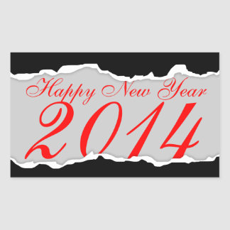 Happy New Year 2014 (page tear) Rectangle Sticker