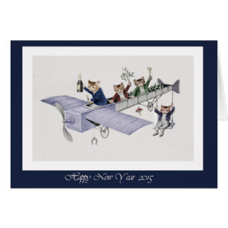Happy New Year 2015 Cute Cats in Plane Card