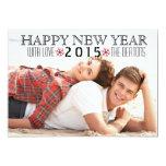 "Happy New Year 2015 red snowflake photo 5"" X 7"" Invitation Card"