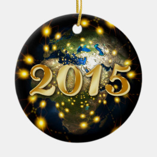 Happy New Year 2015 Round Ceramic Ornament