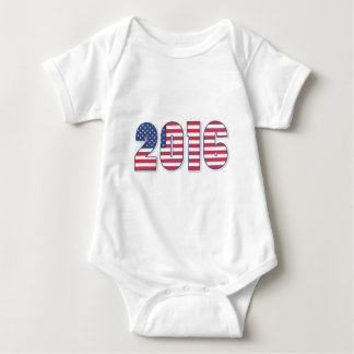 Happy New Year 2016 American Flag Colors USA Baby Bodysuit