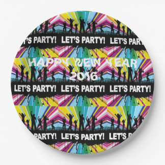 Happy New Year 2016, Let's Party! 9 Inch Paper Plate