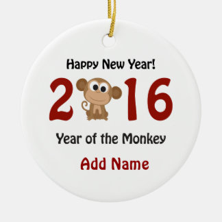 Happy New Year 2016 Year of the Monkey Round Ceramic Ornament