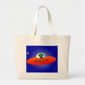 Happy New Year 2017 Alien Large Tote Bag